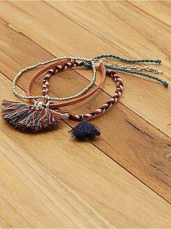 Gioielli - Set 3 braccialetti trecce e pompon