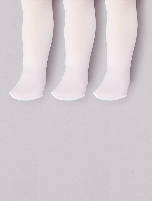 Set 3 collant sottili tinta unita                             bianco Neonata