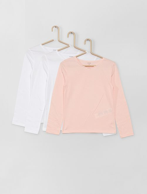 Set 3 maglie cotone                             bianco/rosa