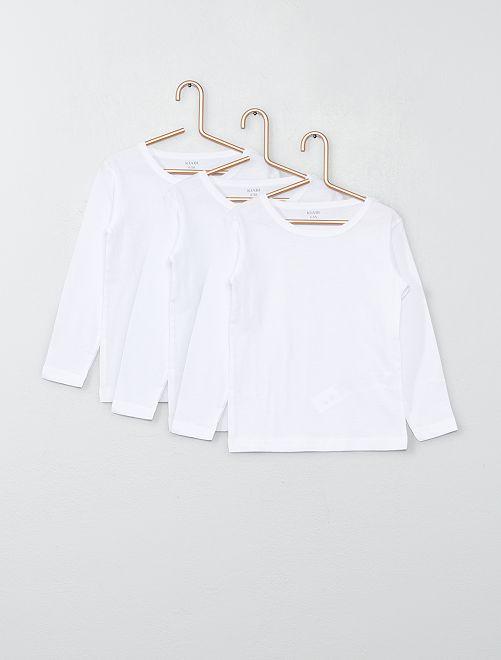 Set 3 maglie cotone maniche lunghe                             bianco