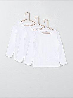 Bambina 3-12 anni Set 3 maglie cotone maniche lunghe