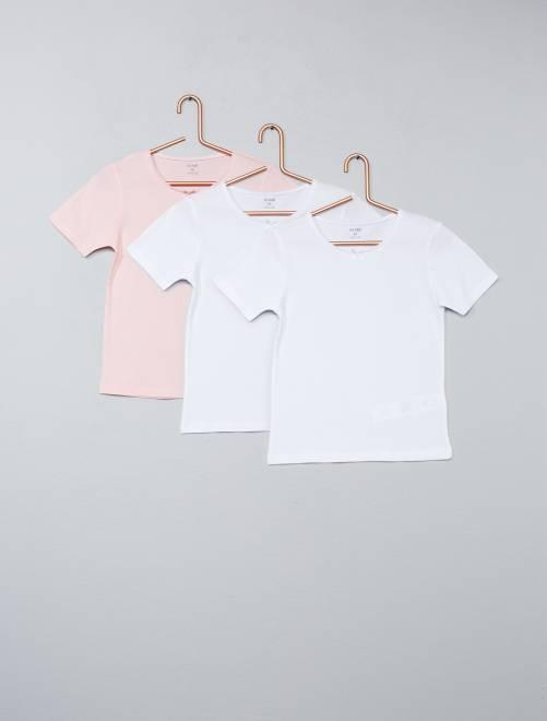 Set 3 magliette tinta unita                             bianco/rosa