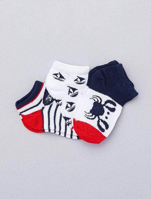 Set 3 paia calzini alla caviglia                                         BLU Neonato