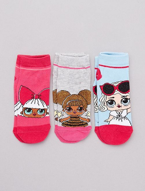 Set 3 paia calzini alla caviglia 'LOL'                             GRIGIO Infanzia bambina