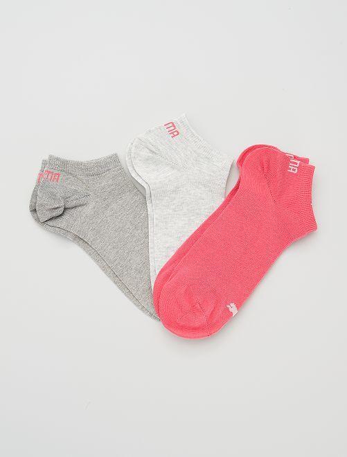 Set 3 paia calzini alla caviglia 'Puma'                                                                                                                                                     GRIGIO/rosa