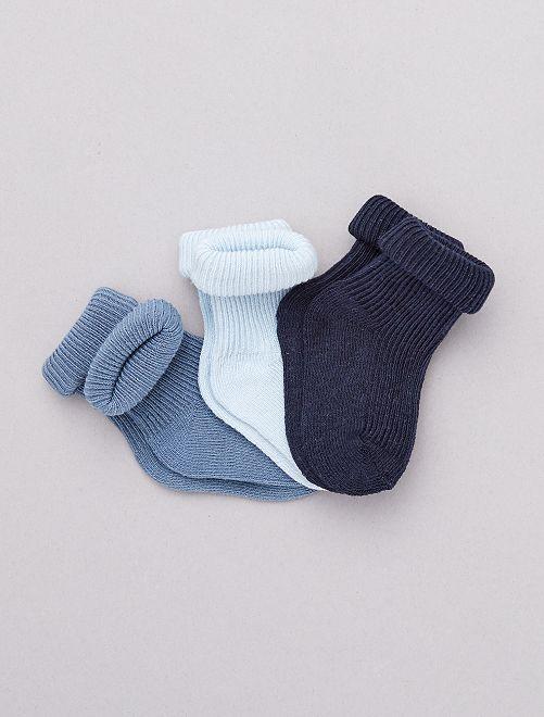 Set 3 paia calzini cotone bio                                                     BLU