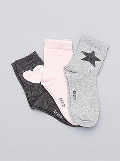 Bambina 3-12 anni Set 3 paia calzini cuore e stella