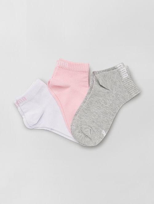 Set 3 paia calzini gambale corto 'Puma'                                                                             rosa/bianco/grigio