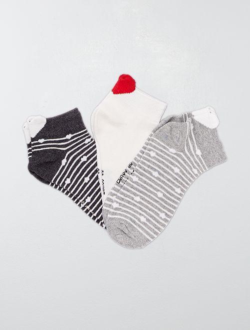 Set 3 paia calzini 'righe e cuore'                                         GRIGIO
