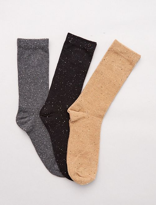Set 3 paia calzini screziati                                 NERO