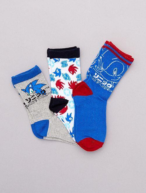 Set 3 paia calzini 'Sonic'                             BLU Infanzia bambino