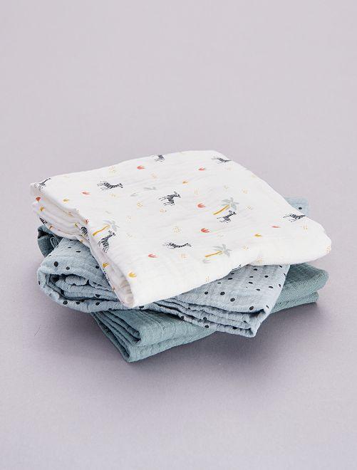 Set 3 quadrati neonato stampati                                                                 BLU