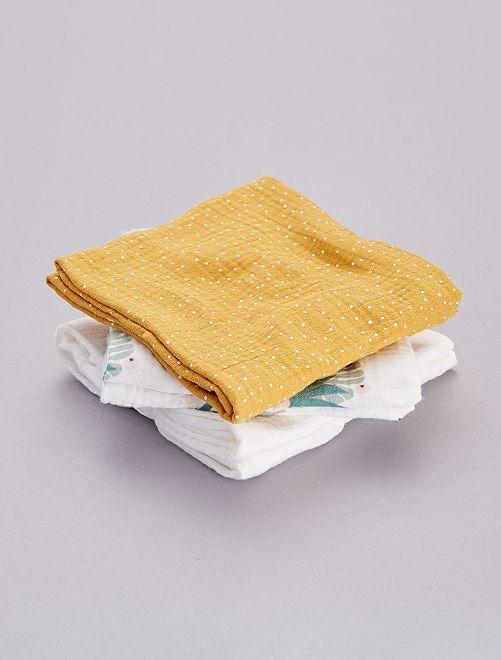 Set 3 quadrati neonato stampati                                                                 giallo