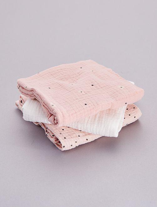 Set 3 quadrati neonato stampati                                                                 rosa
