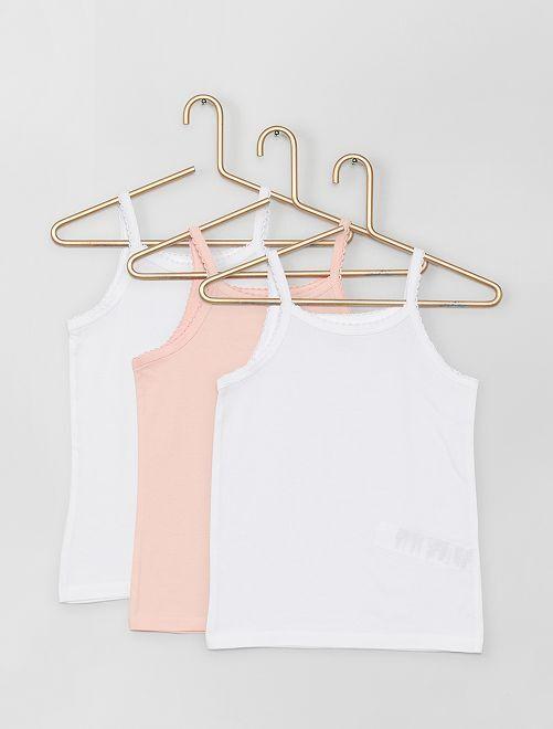 Set 3 top cotone                             bianco/rosa