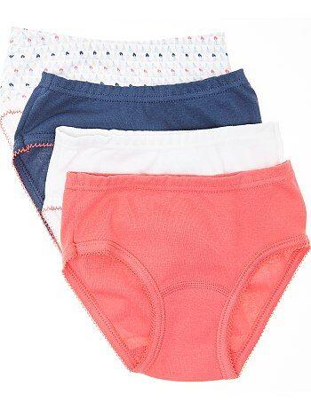 Bambina 3-12 anni - Set 4 mutandine jersey puro cotone - Kiabi