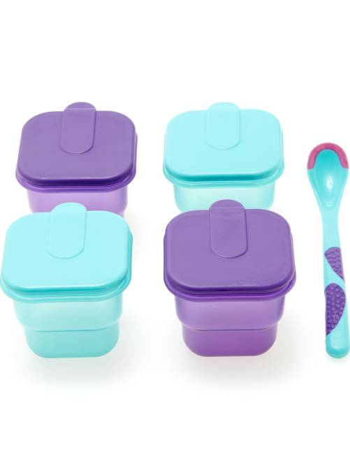 Set 4 vasetti + cucchiaio bebè                             viola/verde Neonato