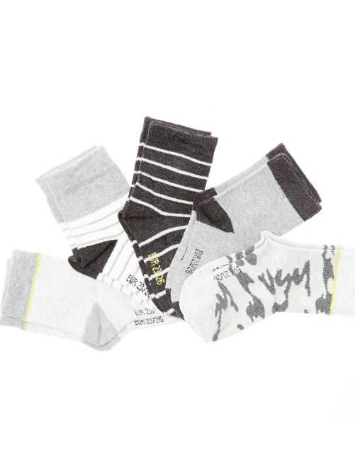 Set 5 paia calzini cotone bio                             militare/a righe