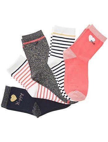 Bambina 3-12 anni - Set 5 paia calzini fili brillanti - Kiabi