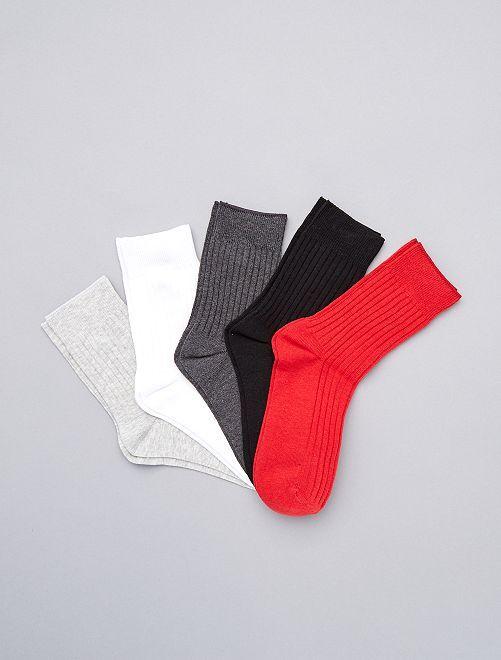 Set 5 paia calzini lunghi                                                     ROSSO
