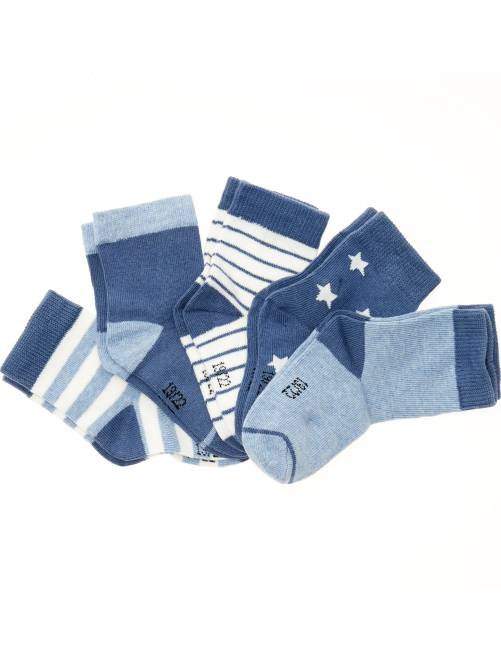 Set 5 paia calzini motivi fantasia                                         a righe blu