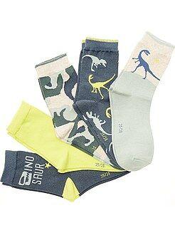 Set 5 paia calzini stampa 'Dinosauri'