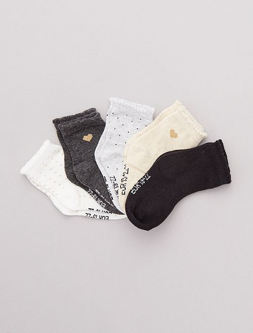 Set 5 paia calzini stampati                                         BIANCO