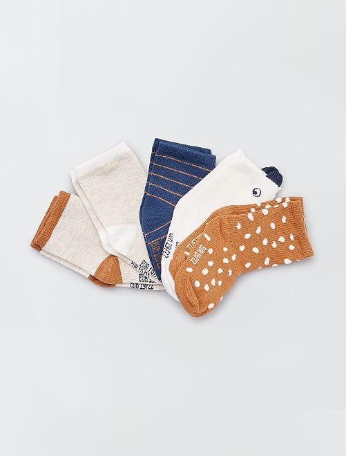 Set 5 paia di calzini eco-sostenibili                                                                 MARRONE