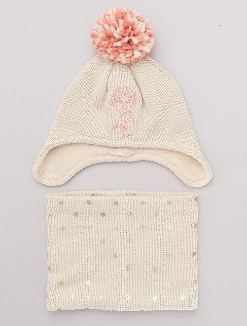 Set berretto e sciarpa snood 'Frozen'                             BEIGE