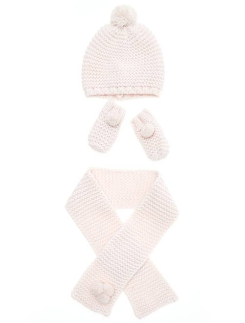 Set berretto + sciarpa + muffole                                         rosa pallido Neonata
