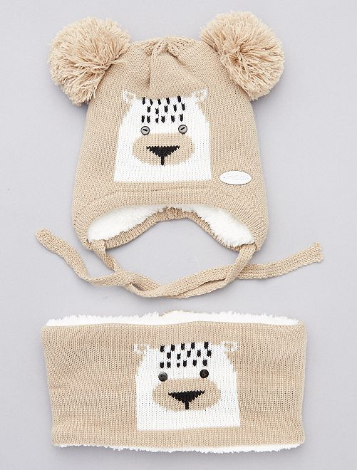Set berretto + sciarpa snood 'orsacchiotto'                             BEIGE
