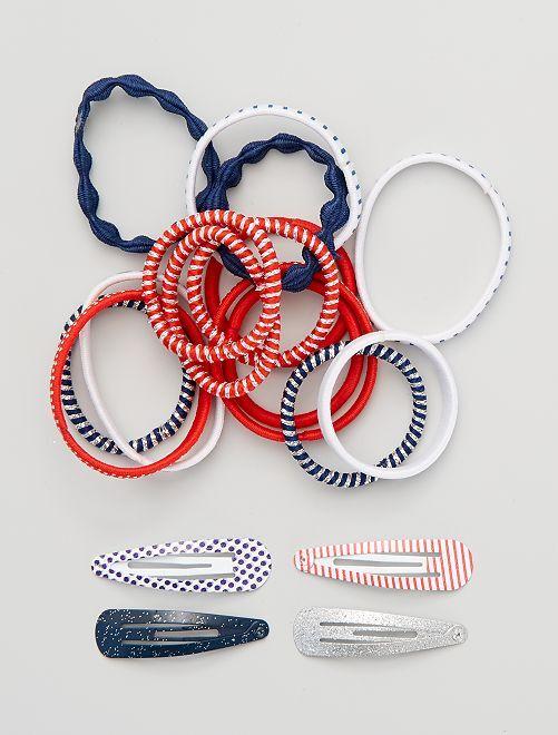 Set di 14 elastici + 4 fermagli                             multicolore