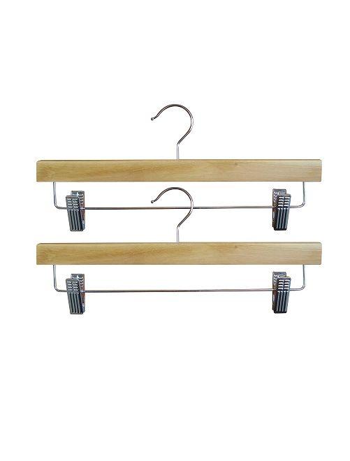 Set di 2 appendiabiti in legno con pinzette                             MARRONE