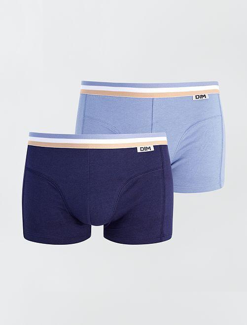 Set di 2 boxer en cotone stretch 'Dim'                             blu marine