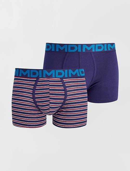 Set di 2 boxer in cotone stretch 'Dim'                             BLU