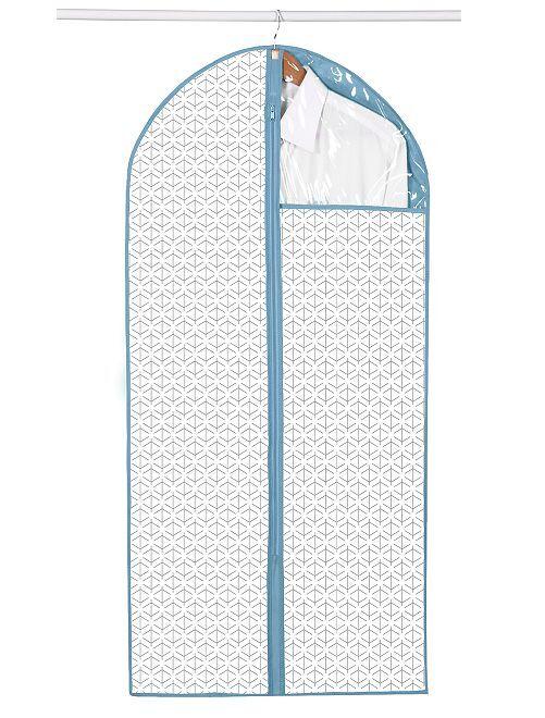 Set di 2 custodie per abiti in tessuto                                         bianco/blu