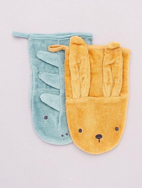 Set di 2 guanti da bagno 'animali' eco-sostenibili                                         GRIGIO