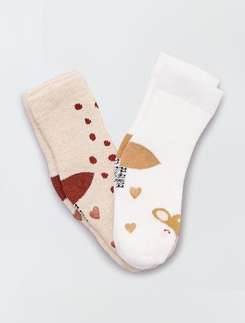 Set di 2 paia di calzini antiscivolo                                                                                                                 MARRONE