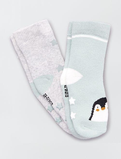 Set di 2 paia di calzini antiscivolo                                                                                                                 pinguino