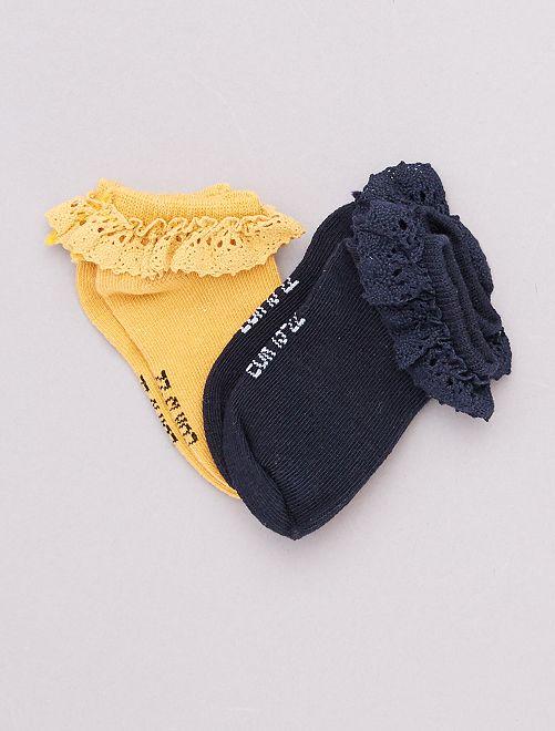 Set di 2 paia di calzini da cerimonia                                         GIALLO