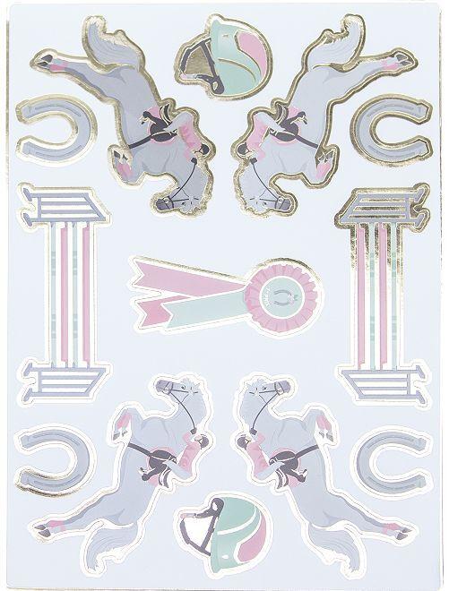 Set di 25 adesivi 'equitazione'                             rosa/bianco