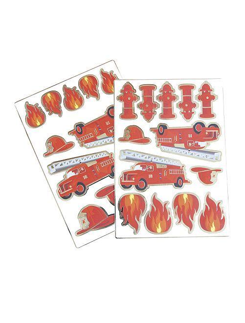 Set di 25 adesivi 'pompieri'                             rosso