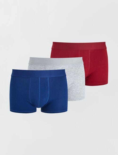 Set di 3 boxer eco-sostenibili                                                                                                                 BLU/grigio/rosso