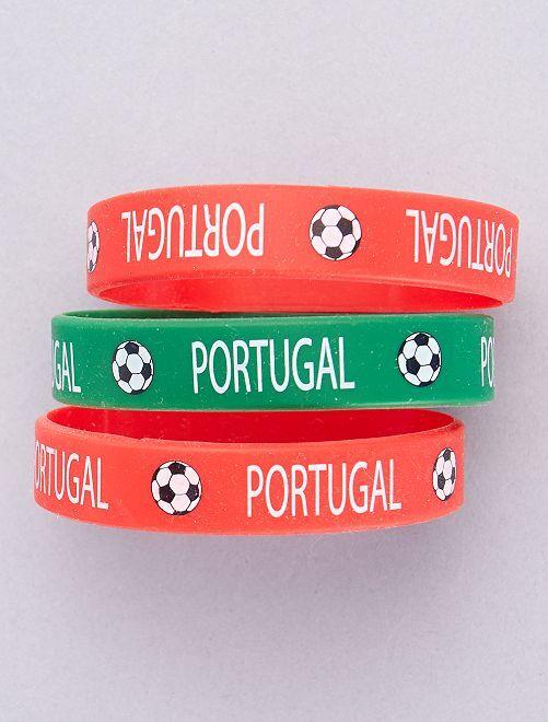 Set di 3 bracciali football                             ROSSO