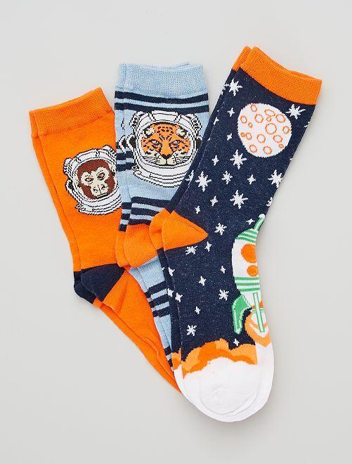 Set di 3 paia di calzini                                         blu/arancione