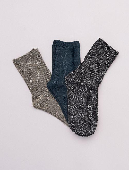 Set di 3 paia di calzini con fili lucidi                                             VERDE