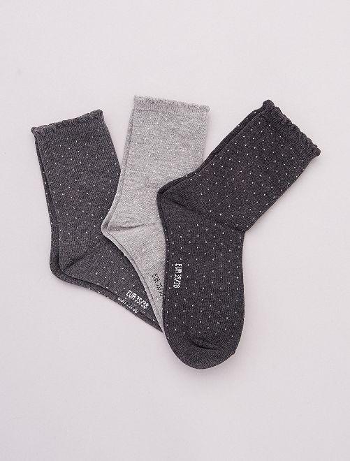 Set di 3 paia di calzini con motivi                                                                                                                 grigio