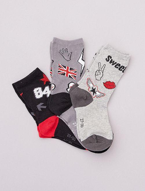 Set di 3 paia di calzini con motivi                             grigio/nero