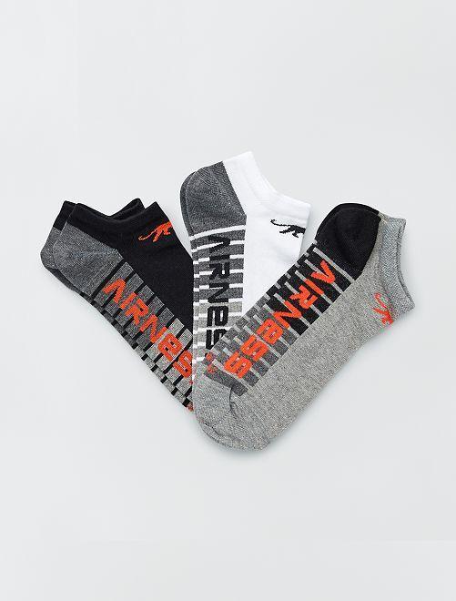 Set di 3 paia di calzini corti 'Airness'                                                     GRIGIO