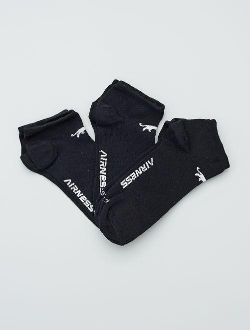 Set di 3 paia di calzini corti 'Airness'                             nero